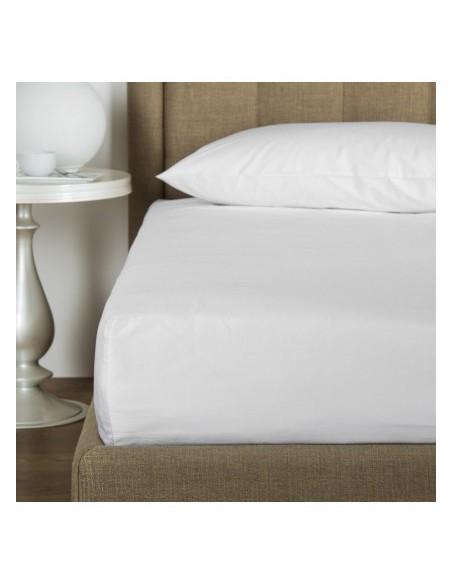 Sábana bajera ajustable 150x200 cm + 30 cm - Sábana bajera cama 150 - Sábana blanca algodón percal