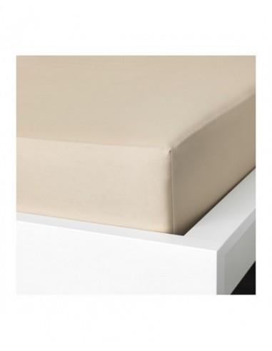 lençol de baixo ajustável 140x200 + 30 cm - Lençol capa cama 140 - Lençol bege algodão percal