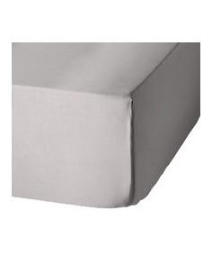 Sábana bajera ajustable 140x200 cm + 30 cm - Sábana bajera cama 140 - Sábana gris perla algodón percal