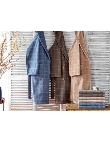 Juego de 3 toallas baño para hombre - Toallas baño 100% algodón color azul, marrón y beige