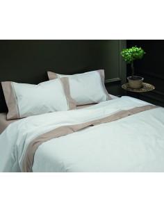 Jogo de lençóis 100% algodão percal branco com renda aplicada