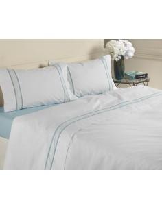AZUL - Jogo de lençóis 100% algodão percal branco com renda aplicada e plumeti