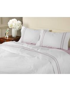 ROSA - Jogo de lençóis 100% algodão percal branco com renda aplicada e plumeti