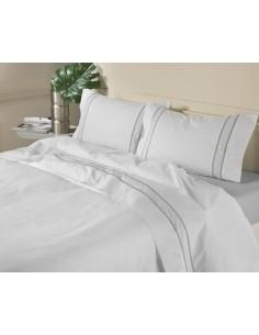 CINZA - Jogo de lençóis 100% algodão percal branco com renda aplicada e plumeti