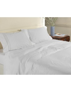 BRANCO - Jogo de lençóis 100% algodão percal branco com renda aplicada e plumeti