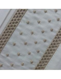 TAUPE - Jogo de lençóis 100% algodão percal branco com renda aplicada e plumeti