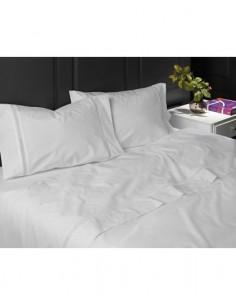 160x200 - Jogo de lençóis 100% algodão percal branco com renda aplicada