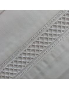 BLANCO - CAMA 180/200 - Jogo de lençóis 100% algodão percal branco com renda aplicada 280X300 cm