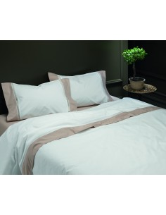 TAUPE - CAMA 180/200 - Jogo de lençóis 100% algodão percal branco com renda aplicada 280X300 cm