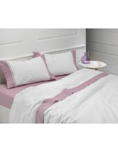 ROSA - CAMA 180/200 - Jogo de lençóis 100% algodão percal branco com renda aplicada 280X300 cm