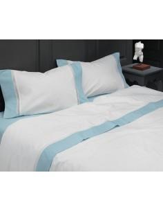 AZUL - CAMA 180/200 - Jogo de lençóis 100% algodão percal branco com renda aplicada 280X300 cm
