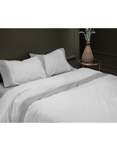 CAMA 180/200 - Jogo de lençóis 100% algodão percal branco com renda aplicada 280X300 cm