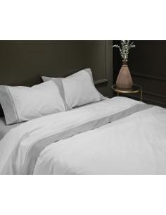 CINZA - CAMA 180/200 - Jogo de lençóis 100% algodão percal branco com renda aplicada 280X300 cm