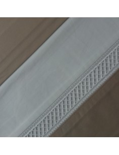 TAUPE - Jogo de lençóis 100% algodão percal branco com renda aplicada