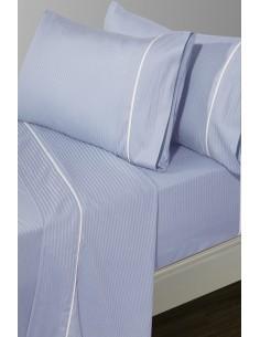 Jogo de lençóis azul bebé às riscas em cetim 300 fios