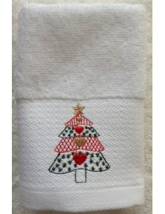 1 Toalla 30x30 de navidad bordada - Lencería de baño 100% algodón