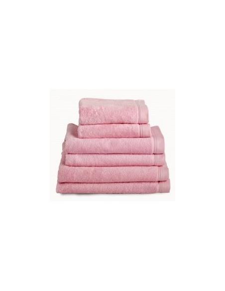 Toallas baño 100% algodón peinado 580 gr. color rosa pastel