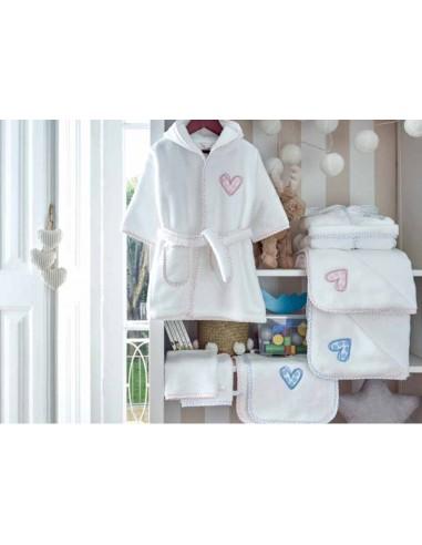 Capa de baño de bebe 85x85 cm - Toalla capucha bebe corazones rosa, azul