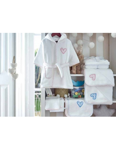 Capa de banho de bebé 85x85 cm - Toalha com capucho de bebé com corações rosa e azul