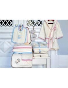 Capa de banho de bebé 85x85 cm - Toalha com capucho bebé bordada azul, rosa e bege