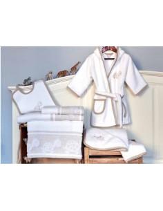 Capa de banho de bebé 85x85 cm - Toalha com capucho de bebé bordada em linho