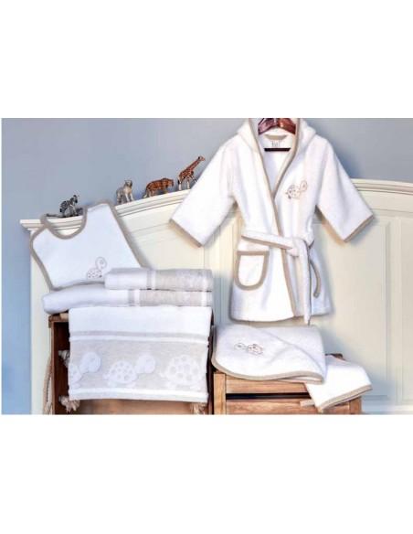 Capa de baño de bebé 85x85 cm - Toalla capucha bebé bordada lino