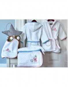 Roupão de bebé - jogo corações toalha com capucho bebé + Babete + luva de banho