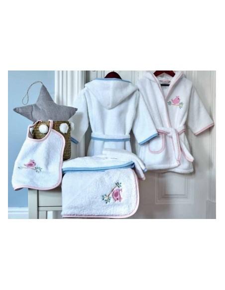 Roupão de bebé - jogo toalha com capucho bebé + Babete + luva de banho