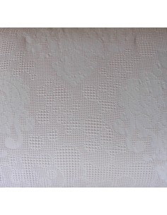 Colcha edredón nórdico en algodón orgánico alta densidad nido de abeja color rosa palo cojines decorativos 50x60 cm